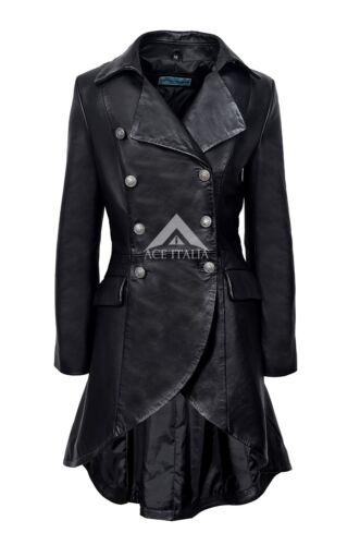 EDWARDIAN Ladies Leather Jacket Black Back Buckles GOTHIC STYLE NAPA COAT 3491