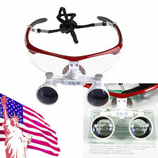 USA- Dental Surgical Medical Binocular Loupes magnifying glasses 3.5x420mm Red