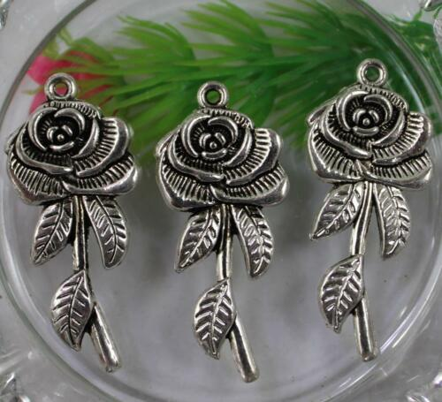wholesale 30//60pcs Retro style rose alloy pendants 44x19mm