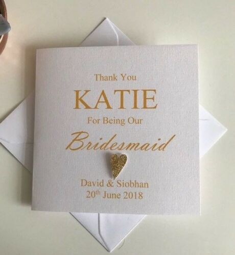 Maid of Honour Personalised Thank You Bridesmaid Card Usher etc. Best Man
