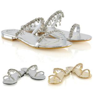 Womens-Diamante-Flat-Strappy-Slider-Ladies-Sparkly-Slip-On-Sandals-Size-3-8
