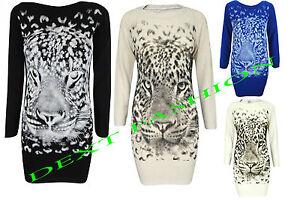 Mujer-Leopardo-Estampado-Tigre-Top-Tejido-Vestido-Cenido-Tunica-Caftan-Jersey