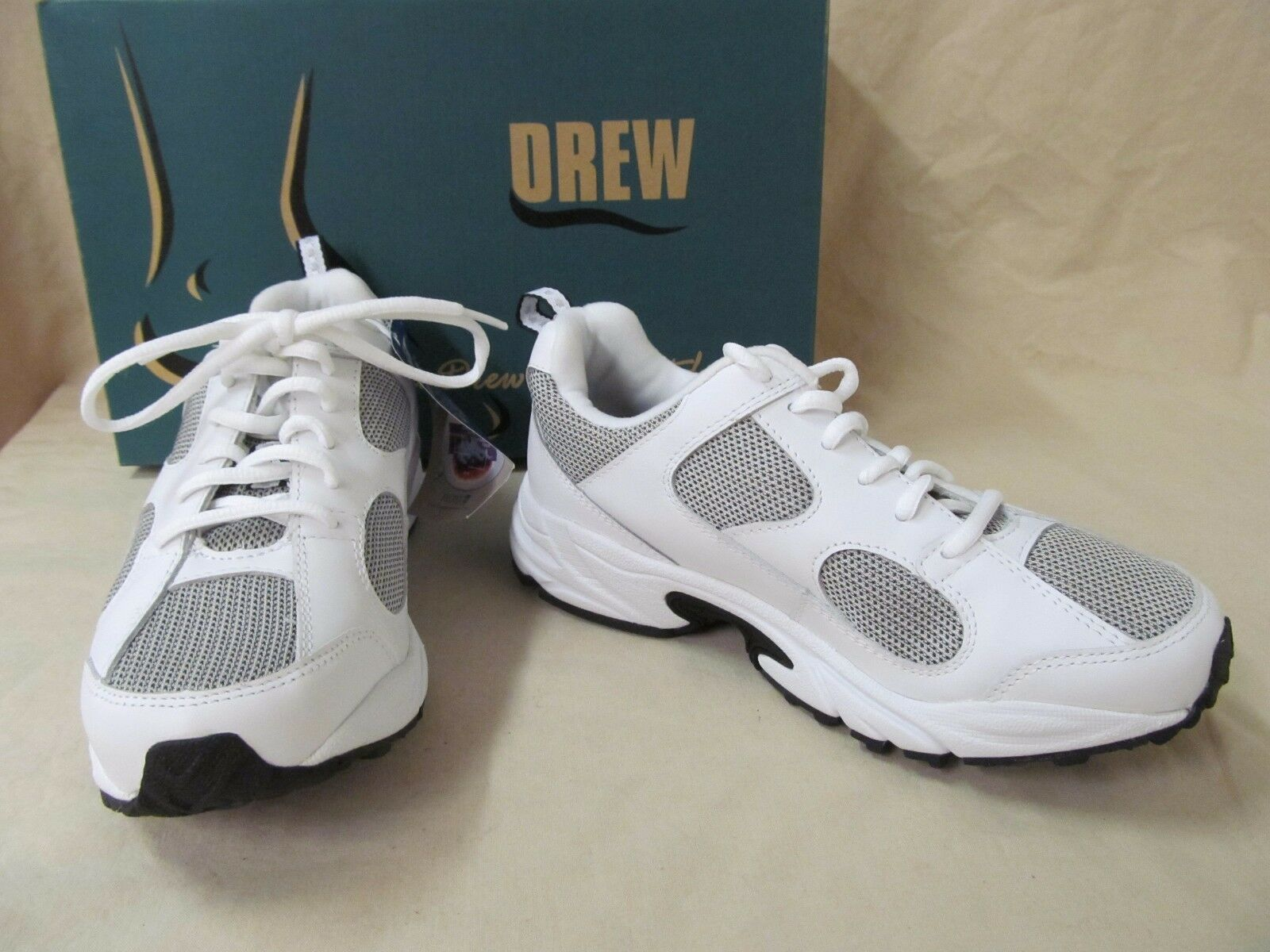 Drew 6.5 M Flash Blanc Leather Lace Up Orthotic Athletic Chaussures Sneakers 10569-07