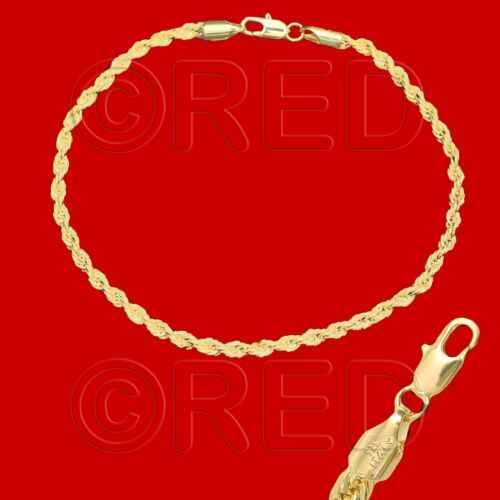"""Gold Over Silver quality made in Italy 3 Mm Corde Chaîne 10.5/"""" Bracelet R3CC"""