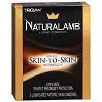 5 Pack - Trojan Naturalamb Natural Skin Lubricated Condoms 3 Each on sale