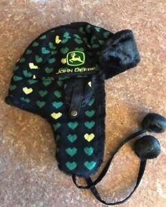 69f55654331bf John Deere Women s Trapper Hat Black Green Yellow Hearts One Size ...