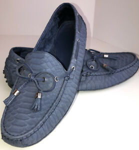 Cole-Haan-Slate-Blue-Faux-Alligator-Driving-Loafers-Shoes-Women-s-10-B-Flats