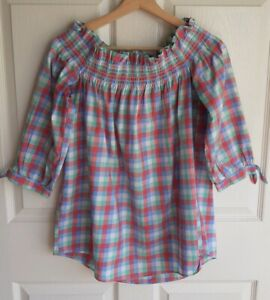Kate-Spade-Womens-Blue-Plaid-Madras-Off-The-Shoulder-Top-Shirt-Blouse-Size-XS