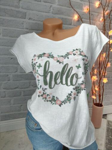 ITALY Mode ❤ T-Shirt Strass Blumen Hippie Ibiza HELLO Herz Grün Rosa 34 36 38 40