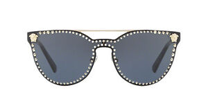 d3b5ad63631 NWT Versace Sunglasses VE 2177 1252 87 Pale Gold Black   Grey 45 mm ...