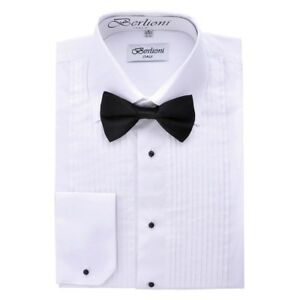 Berlioni-Men-039-s-Long-Sleeve-Tuxedo-Laydown-Collar-W-Bow-tie-Dress-Shirt-White
