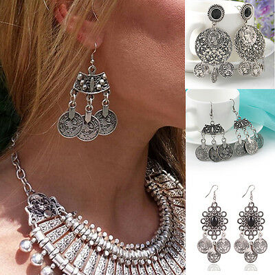 Vintage Silver Gypsy Bohemian Ethnic Tribal Coin Statement Drop Dangle Earring