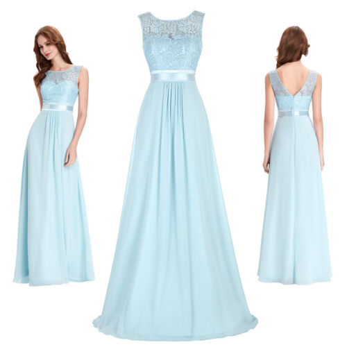 Dame Hellblau Chiffon Ärmellos Lang Abend Ballkleid Party Cocktailkleid Formal