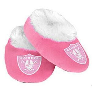 Details About Oakland Raiders Pink Infant Newborn Girl Baby Booties Slippers New Shower Gift