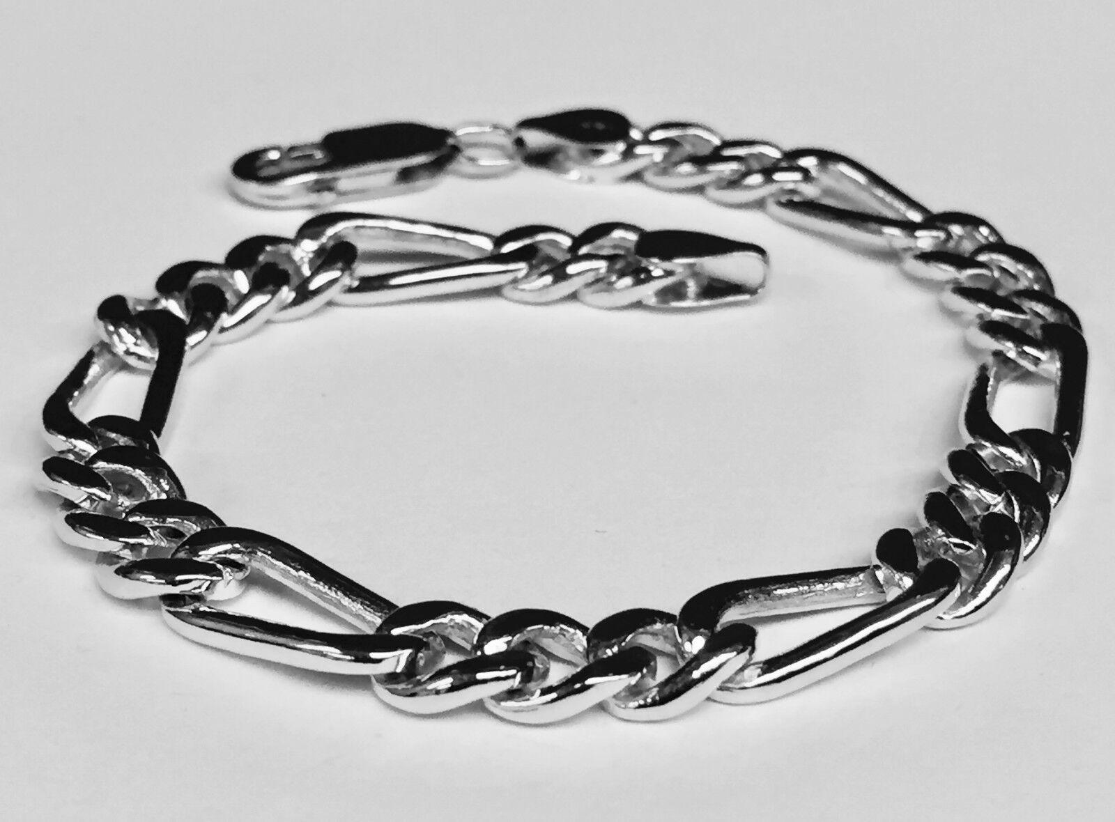 18k Solid White gold Figaro Curb link men's Chain Bracelet 9  29 Grams 7 MM