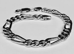Details About 14k Solid White Gold Figaro Curb Link Men S Chain Bracelet 8 5 22 Grams 7 Mm