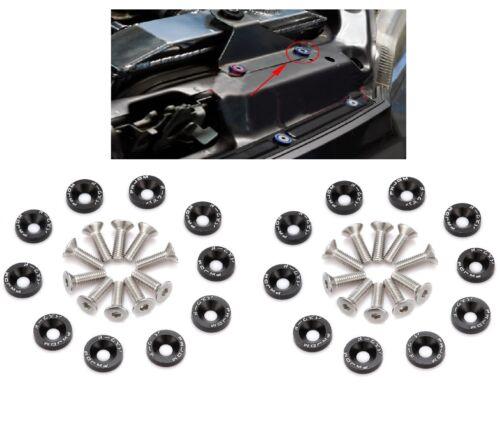 20x JDM BILLET ALUMINUM FENDER BUMPER WASHER//BOLT ENGINE BAY DRESS UP KIT,BLACK