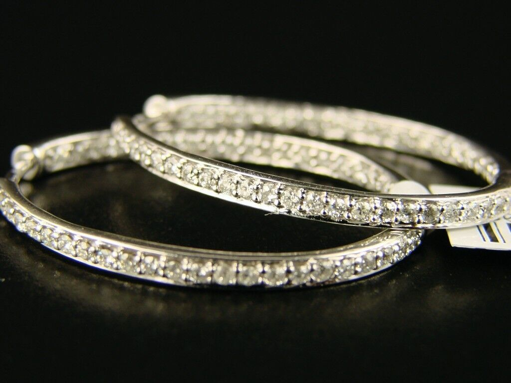 14K Ladies White gold Diamond Hoops Earrings 1.27Ct