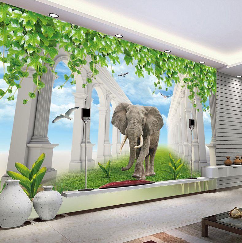 3D Elephant Pillars Corridor 35 Wall Paper Wall Print Decal Wall AJ Wall Paper