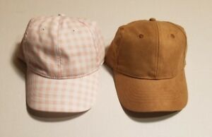 Womens-Tan-Suede-and-Pink-2-PACK-Adjustable-Baseball-Cap-Hat-by-Time-and-Tru