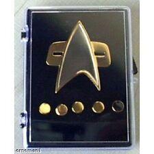 STAR TREK METAL RANK PIPS PIN INSIGNIA SET DS9 VOYAGER TNG MOVIE TYPE