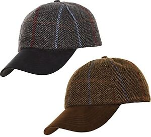 fd6c265aabd 50% Wool Tweed Baseball Cap Hat Herringbone Blue Brown Country ...