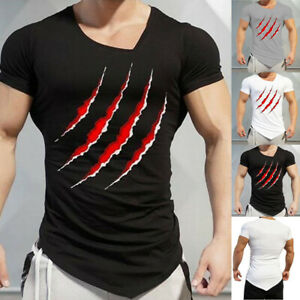 Men-Slim-Fit-Casual-Summer-Short-Sleeve-O-Neck-Tops-Blouse-T-Shirts-Muscle-Tee