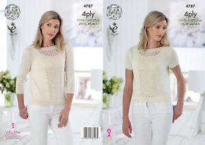 ee8d7e8c8 King Cole Ladies 4 Ply Knitting Pattern Womens Lace Panel Top ...