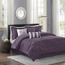 King Bedding Set Plum Purple Crinkle Jacquard Striped 7 Piece ...