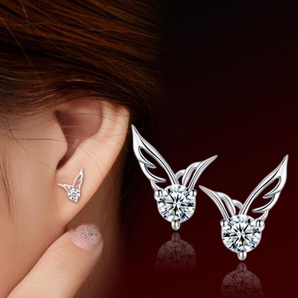 Fashion Women Silver Plated Jewelry Angel Wings Crystal Ear Stud Earrings