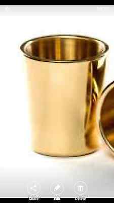"""BRASS Engraved DRINKING CUP 6oz Water Juice Wine 3-3//8/"""" Etched Beaker India #5"""