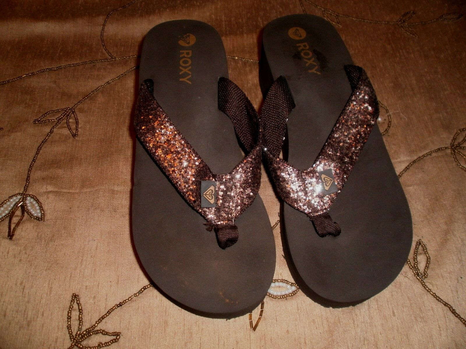 ROXY STYLE WOMEN'S BROWN GLITTER CLOG STYLE ROXY THONGS WITH LOGO-SIZE 7 a950f3