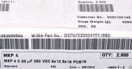 250V 5/% pitch:15mm Capacitor 0,33µF 330nF 4pcs WIMA MKP4 0.33uF