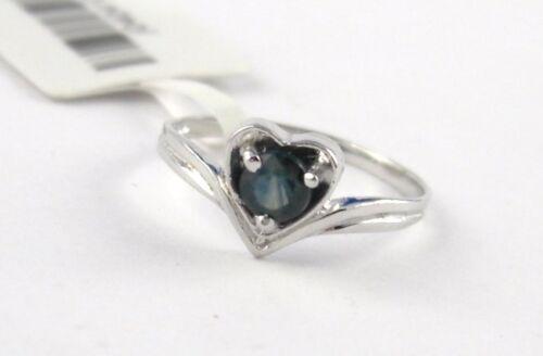 L35 Saphir Ring 925 Silber Rund Schliff in Silber Herz eingefasst div.Grössen