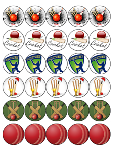 CRICKET 30 Edible Wafer Paper Cupcake Toppers Birthday ...