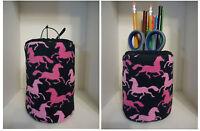 Pink Horses Eyeglass Case Holder Or Pencil Holder For Desk Nice Gift 4 Co Worker