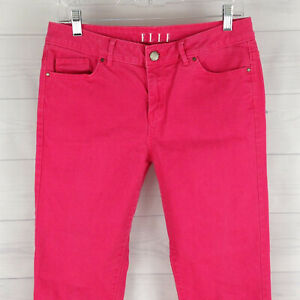 ELLE-Womens-Size-6-Stretch-Solid-Faded-Pink-Mid-Rise-Skinny-Slim-Jeans-in-EUC