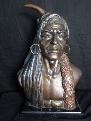 Signed-Bronze-Cold-Painted-Native-American-Indian-Big-Chief-Lone-Horn-Statue