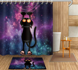 "Nebula Black Cat Shower Curtain Set 71X71"" Bathroom Polyester Fabric Curtains"