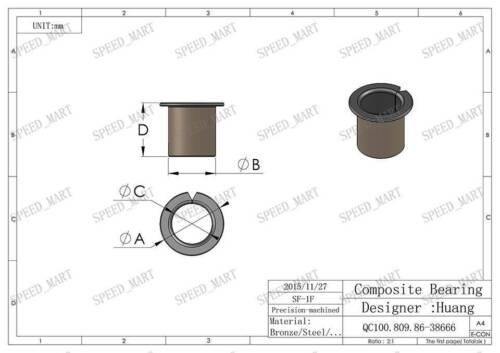 5Pcs SF-1F 0606 Self Lubricating Flanged Openings Bearing Bushing Sleeve 6*8*6mm