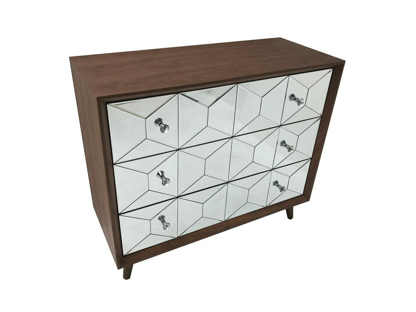 Mirrored Wood Chest 3 Drawers Retro Glass Bedroom Storage Large Deep Cabinet