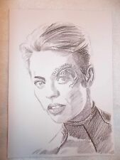 A4 Charcoal Sketch Drawing Jeri Ryan as Star Trek Voyager Seven of Nine 7 of 9 B