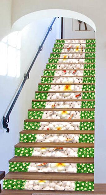 3D Gras Stein Fisch Stair Risers Dekoration Fototapete Vinyl Aufkleber Tapete DE