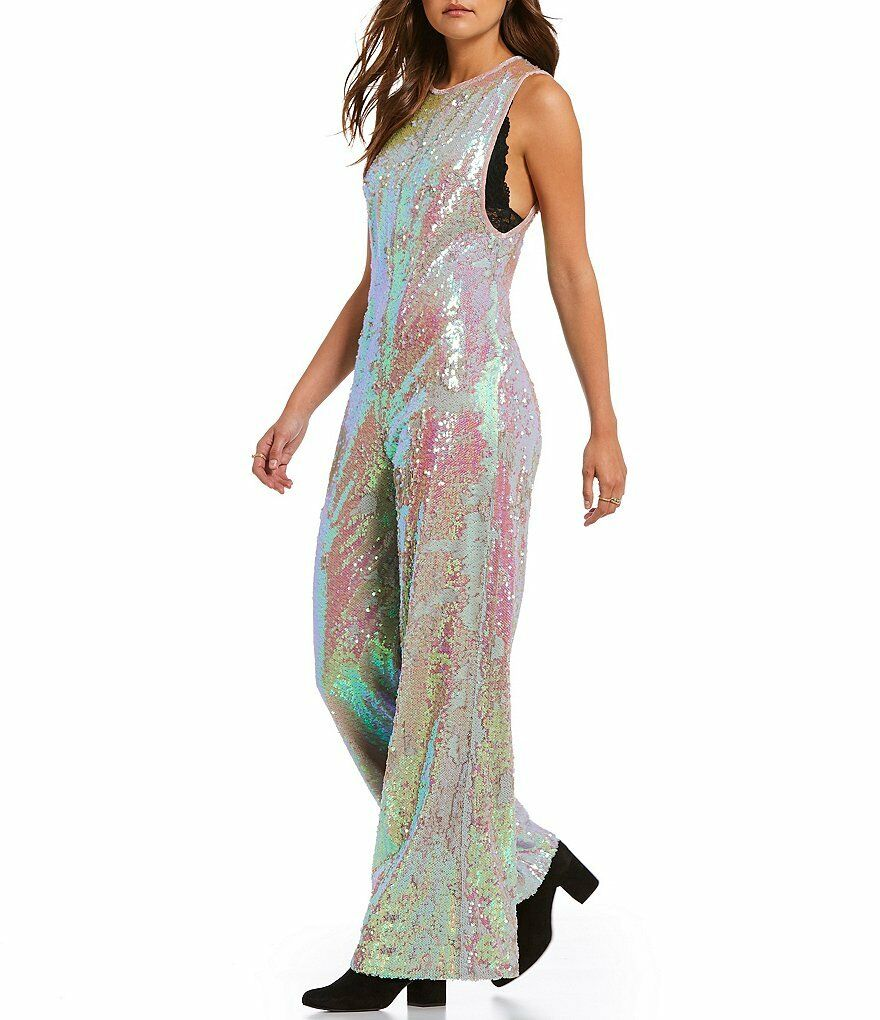 300 NWT Free People Starbright jumpsuit small S bluesh shimmering sequin
