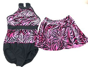 A-Wish-Come-True-Girls-Sz-12-14-Dance-Outfit-Leotard-With-Skirt-Pink-Black