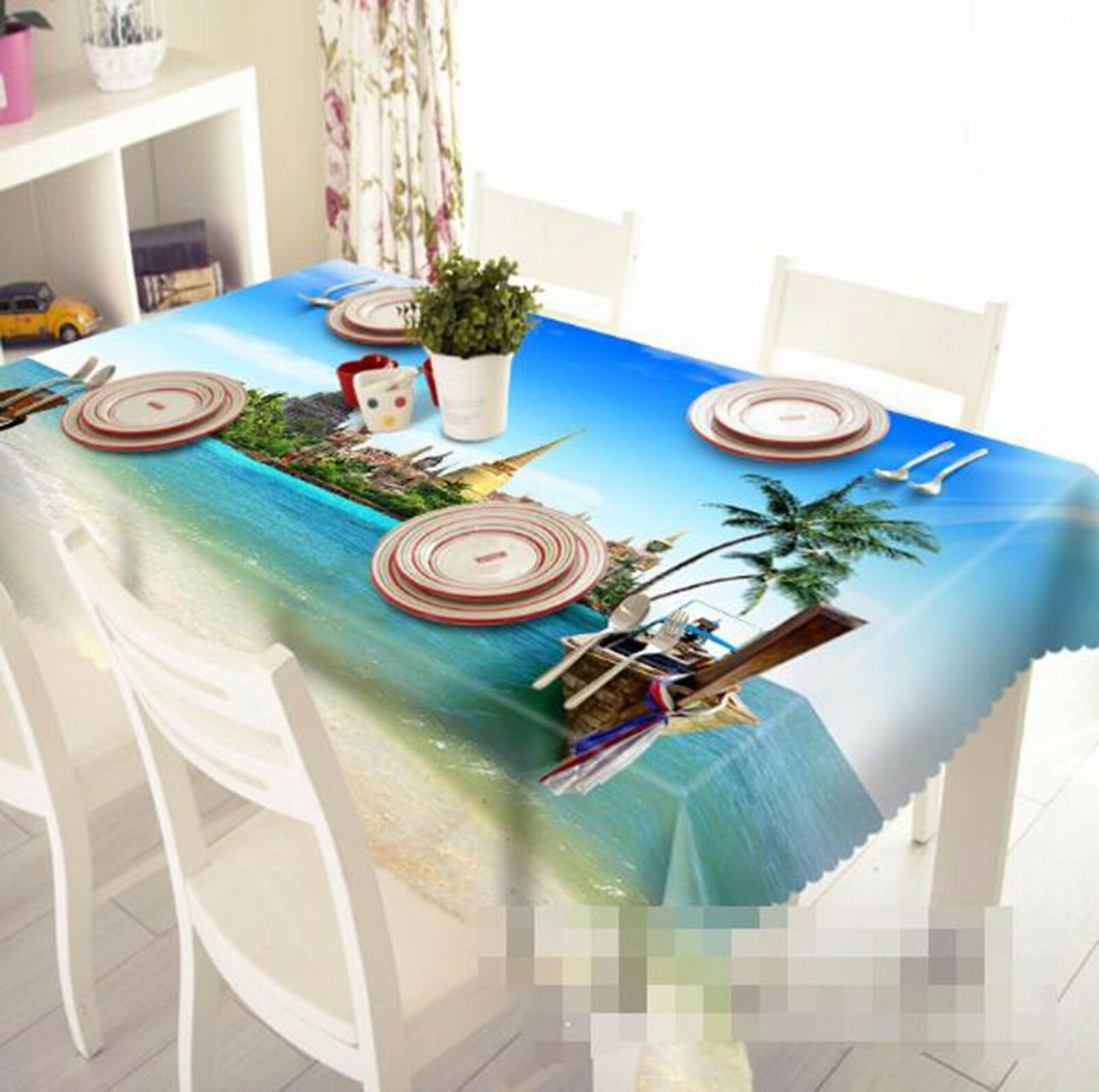 3D Ocean View Tablecloth Table Cover Cloth Birthday Party AJ WALLPAPER UK Lemon