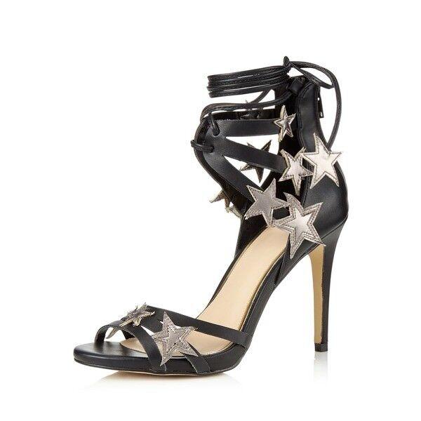 Miss Selfridge Spark Star Detail Black Sandals