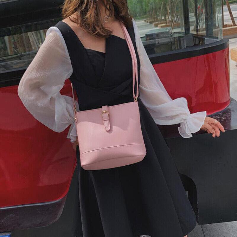 Women Fashion Bucket Bag Shoulder Crossbody Bags Belt Metal Buckle Zipper Bag Clothing, Shoes & Accessories