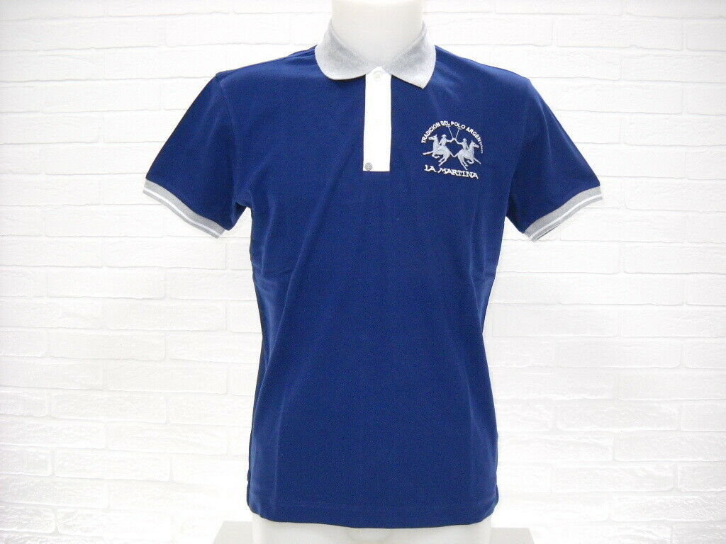 LA MARTINA POLO SHIRT BIG LOGO NMP012 blueE Cotton Pique Slim Man SPRING 2019