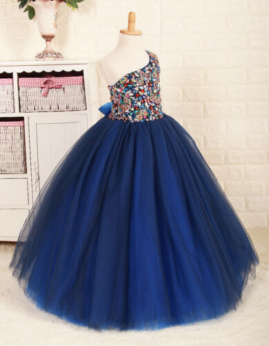 Royal Blue Girls Pageant Dresses Kids Flower Girl Wedding Party Dance Dress Gown